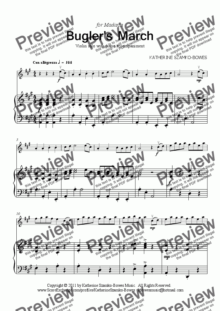 page one of Bugler's March (violin solo)