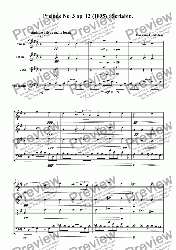 page one of Prelude : Scriabin