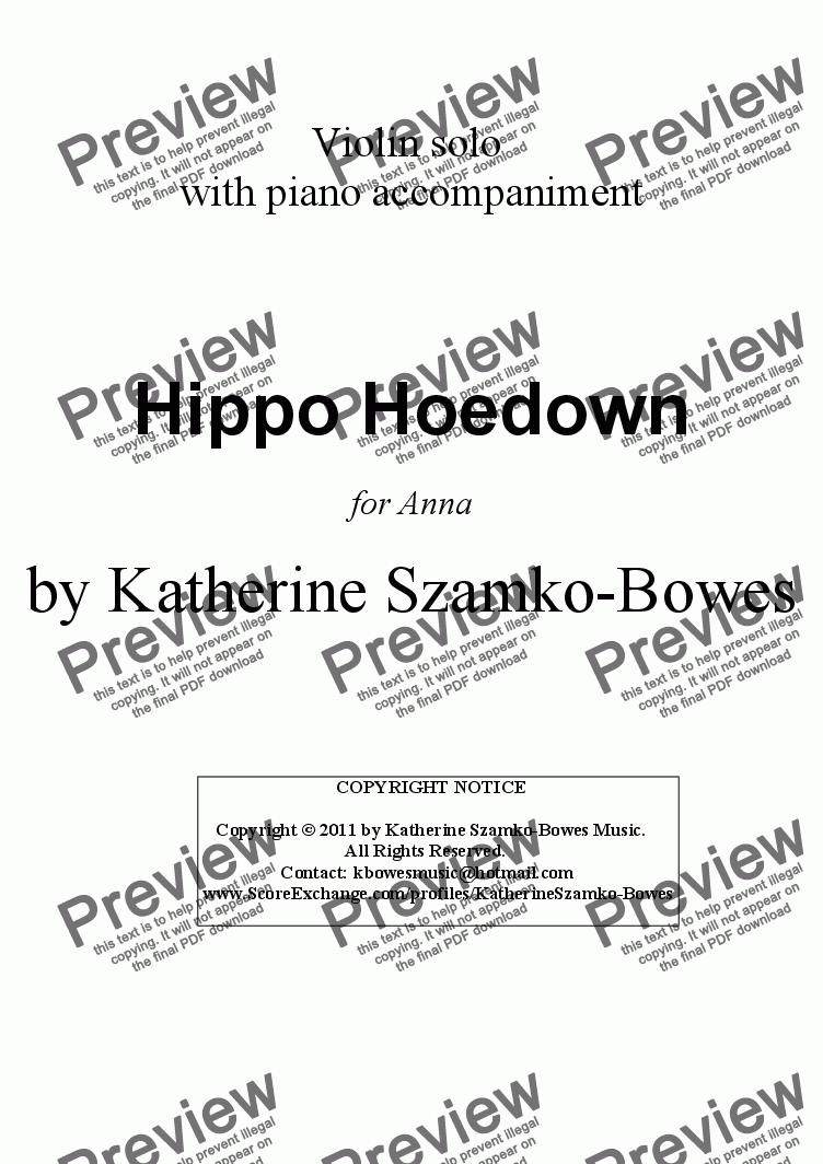 page one of Hippo Hoedown (violin solo)