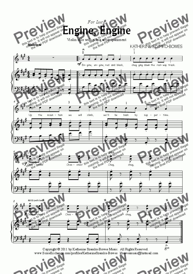 page one of Engine, Engine (beginning violin solo)