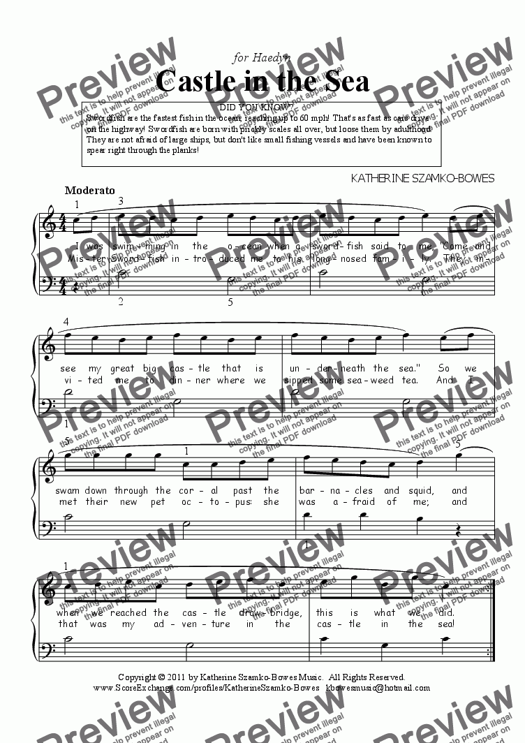page one of Castle in the Sea (beginning piano)