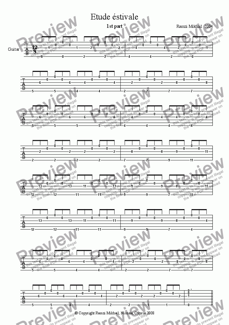 Etude éstivale for Solo instrument (Classical Guitar, standard tuning  [tab]) by Ramzi Mikhail 2004 - Sheet Music PDF file to download