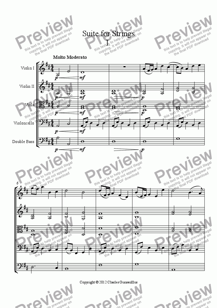 page one of Suite for Strings I. Molto Moderato