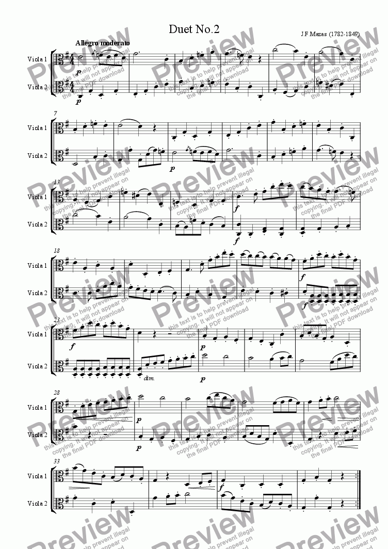 Mazas Duet for 2 Violas Op 38 No 2 for Duet of Violas by J F Mazas  (1782-1849) - Sheet Music PDF file to download