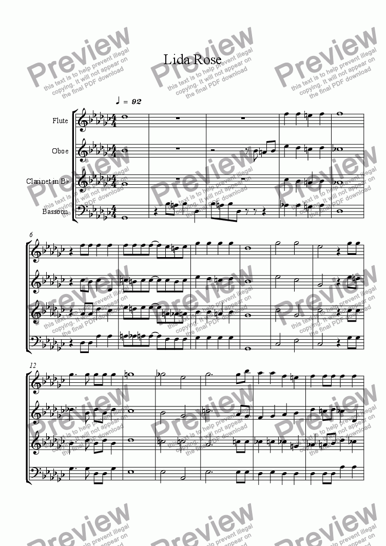 page one of Lida Rose Tenor 1