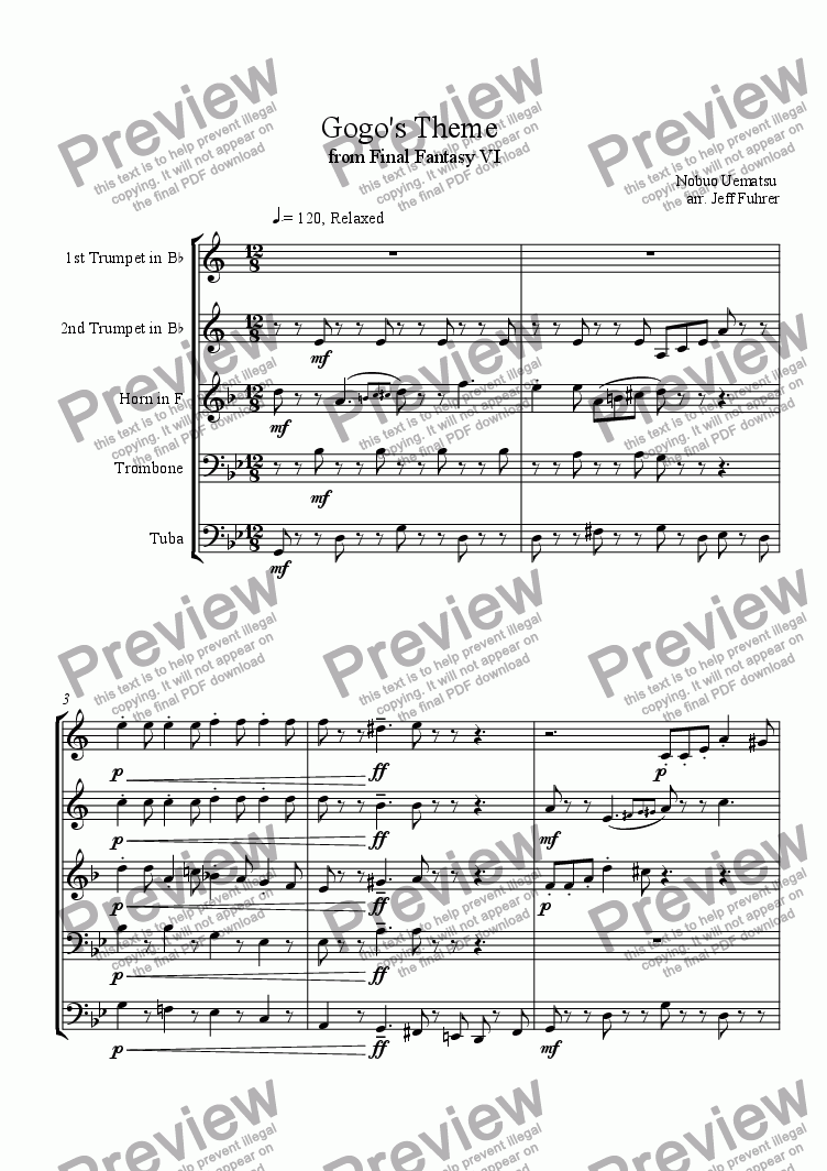 page one of Gogo's Theme