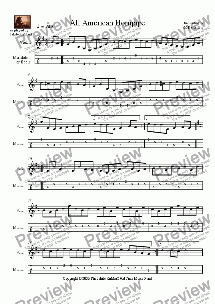 page one of All American Hornpipe