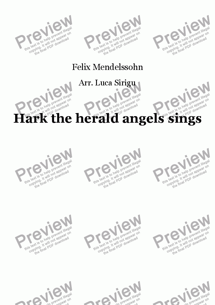 page one of Hark the herald angels sings