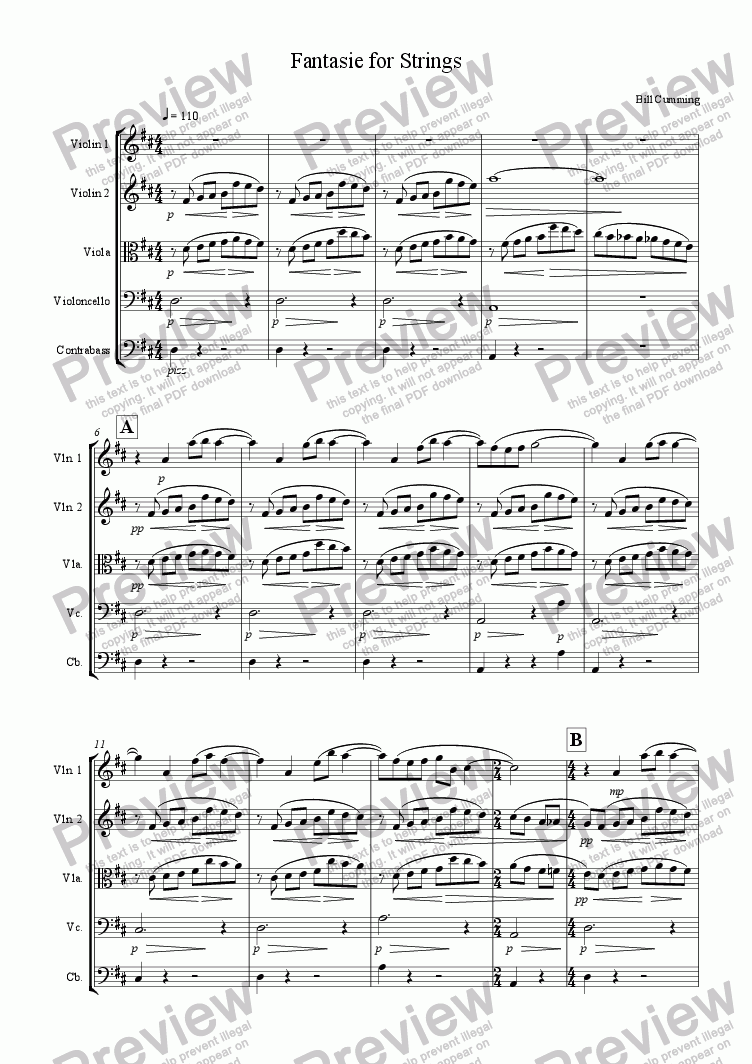 page one of Fantasie for Strings