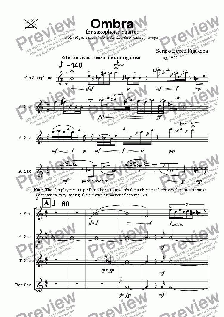 page one of Ombra for saxophone quartetASALTTEXT