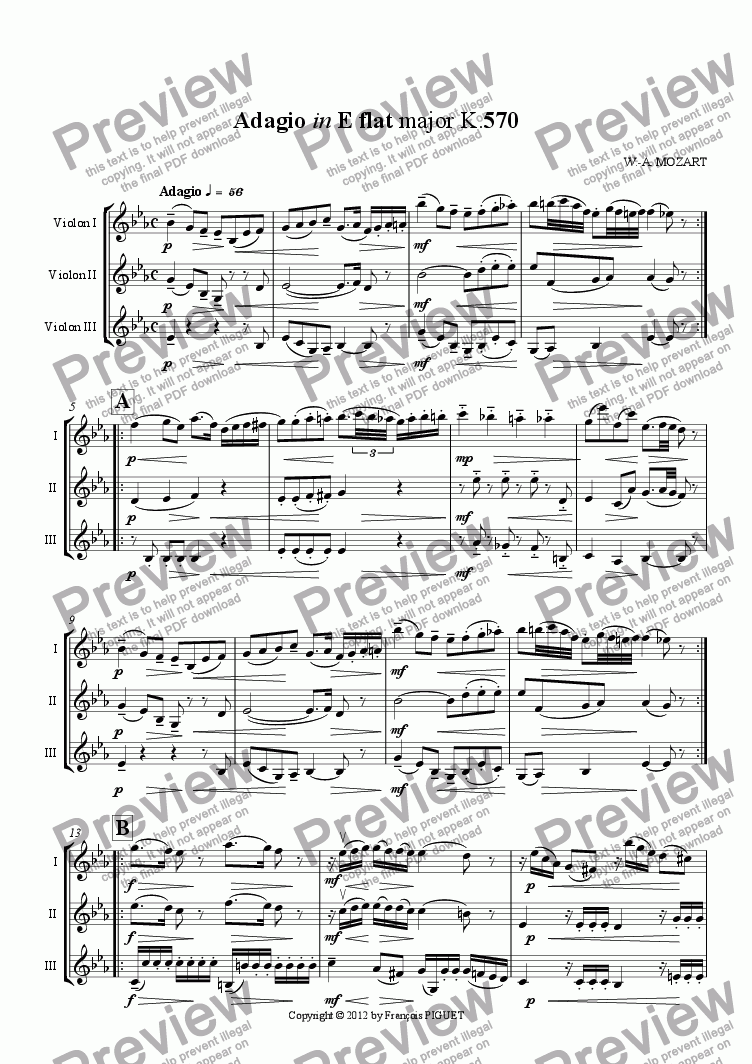 page one of Adagio in E flat major K.570