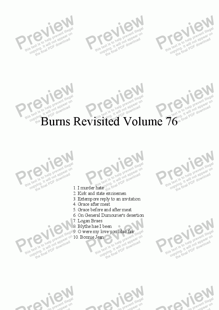 page one of Burns Revisited Volume 76