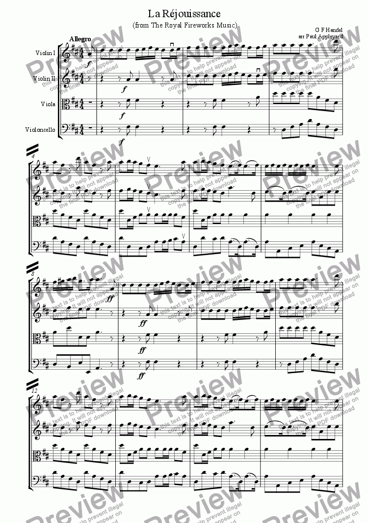page one of La R�jouissance (from The Royal Fireworks Music)