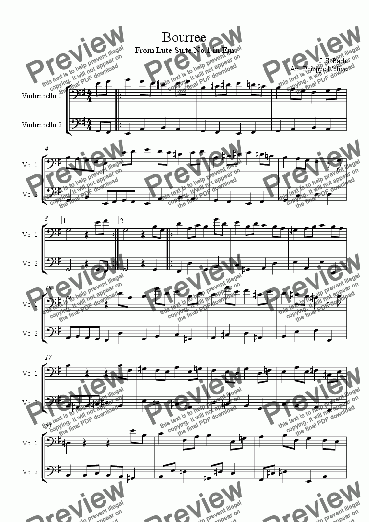 page one of Bourree - Lute Suite No.1 in Em
