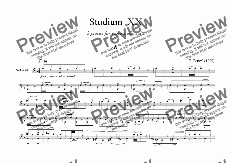 page one of STUDIUM  XX  for  violoncelloASALTTEXT