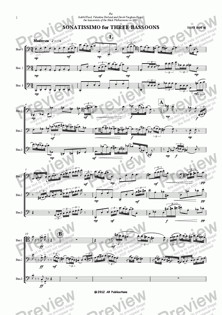 page one of SONATISSIMO for THREE BASSOONS