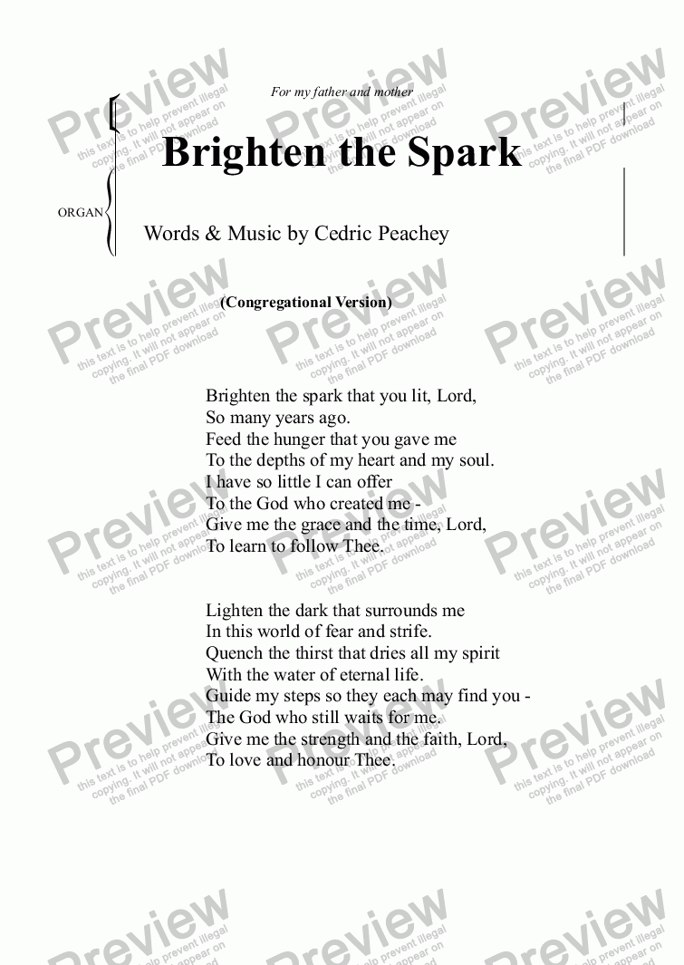 page one of Brighten the Spark (Congregational Version)ASALTTEXT