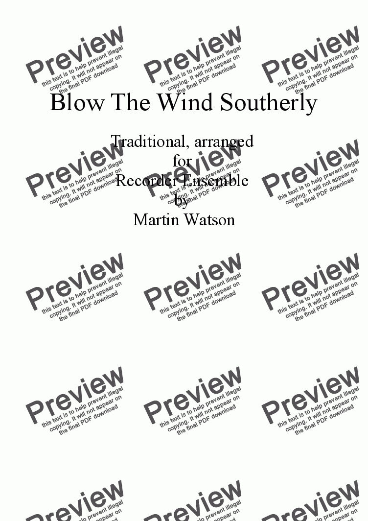 page one of Blow The Wind Southerly for Recorder Ensemble