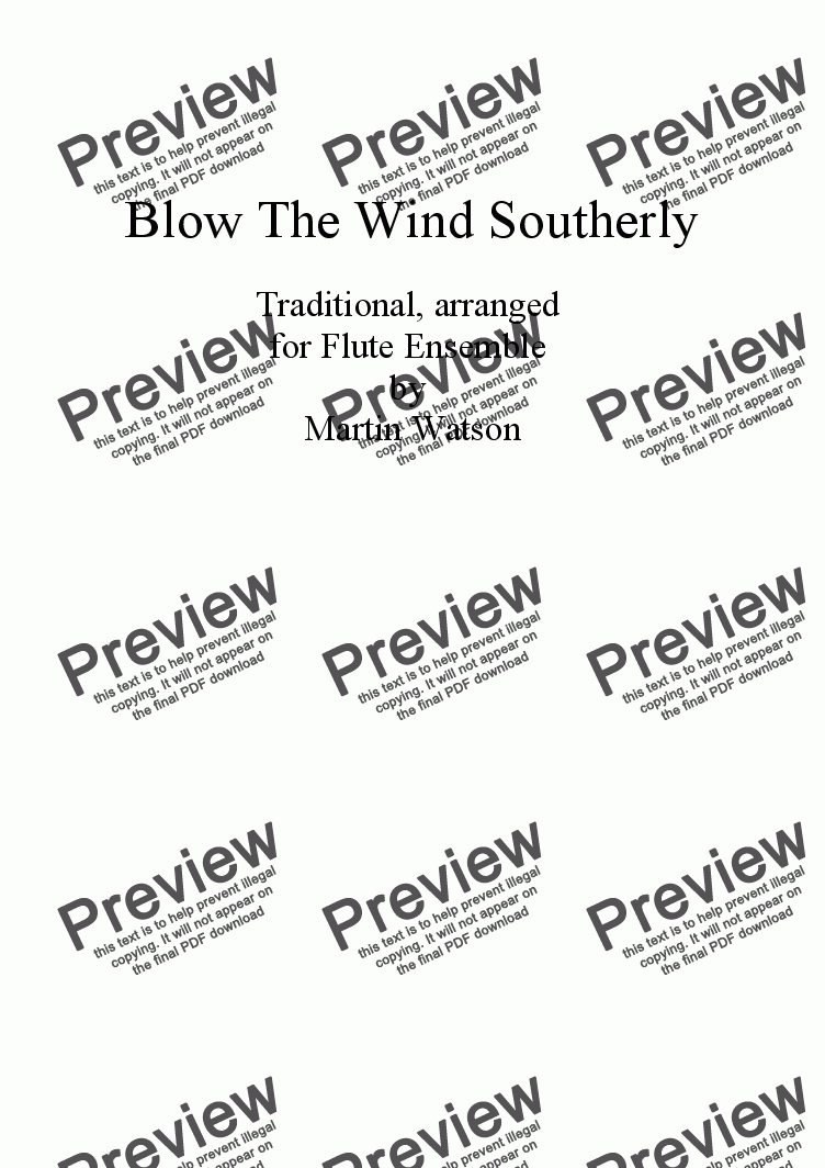 page one of Blow The Wind Southerly for Flute Ensemble.