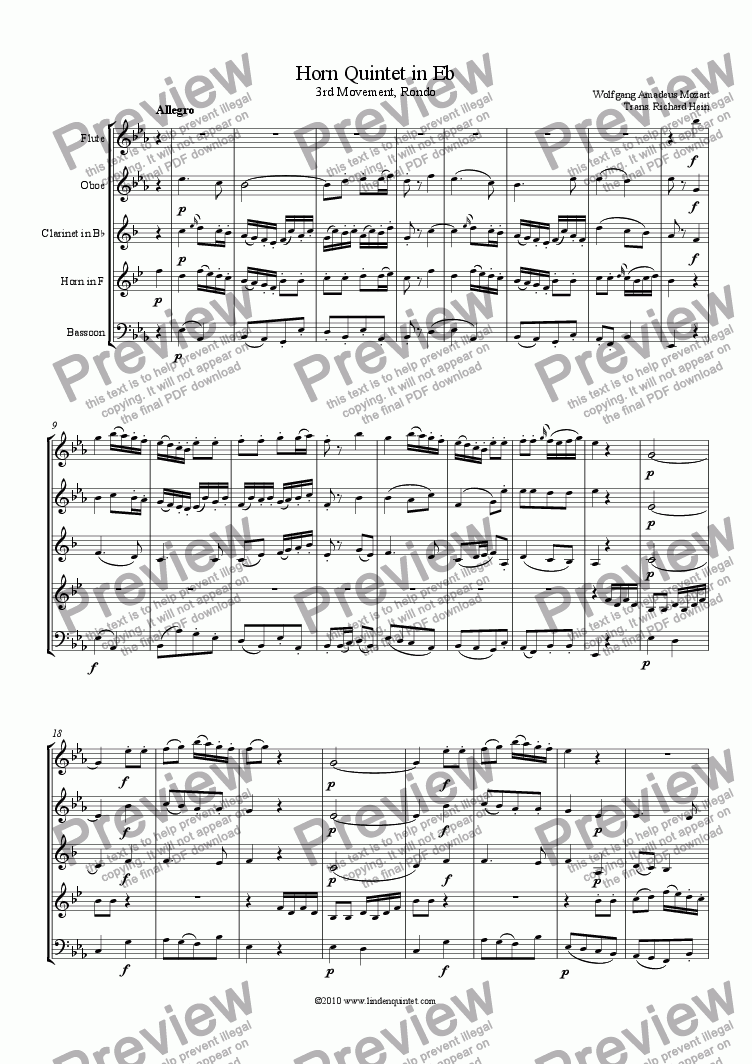 page one of Mozart - Horn Quintet KV 407 Movement 3, Rondo