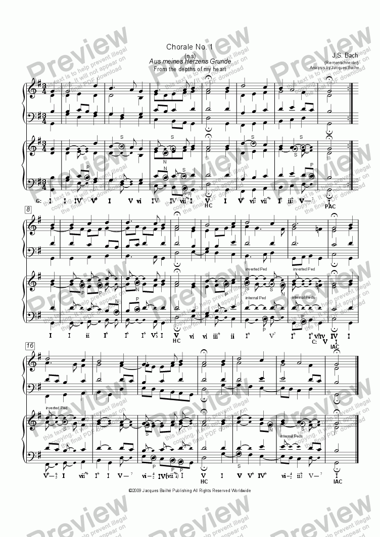 page one of JS Bach Chorale No. 1 (Riemenschneider) Harmonic AnalysisASALTTEXT