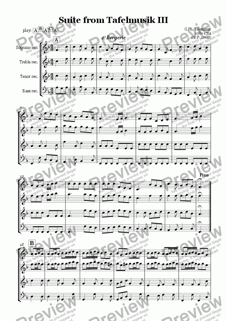 page one of Suite Tafelmusik III (Telemann) (5 pieces)