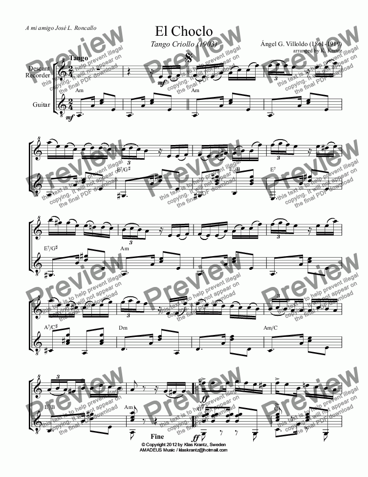 page one of El Choclo - Tango Criollo for descant recorder (flute, violin) and guitar