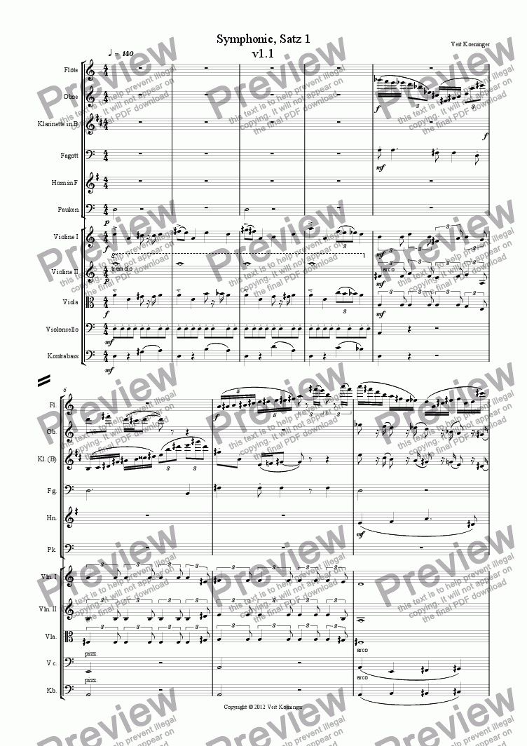 page one of Symphony, Movement 1