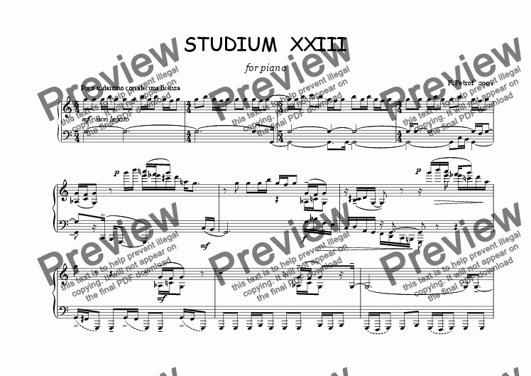 page one of STUDIUM  XXIII  for piano