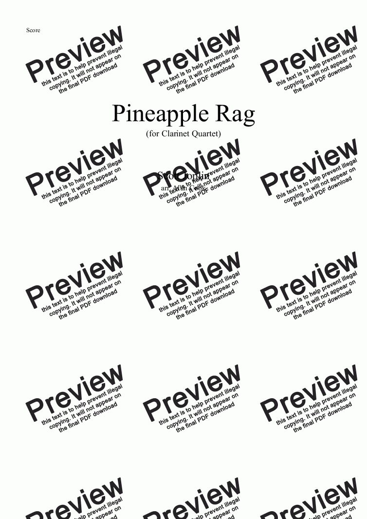 page one of Pineapple Rag (Clarinet Quartet)