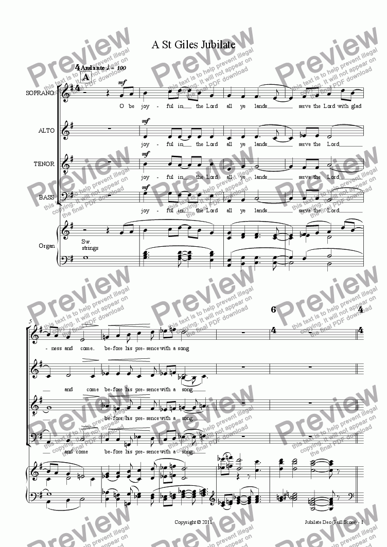 page one of Jubilate (juvenilia, choir SATB + organ)