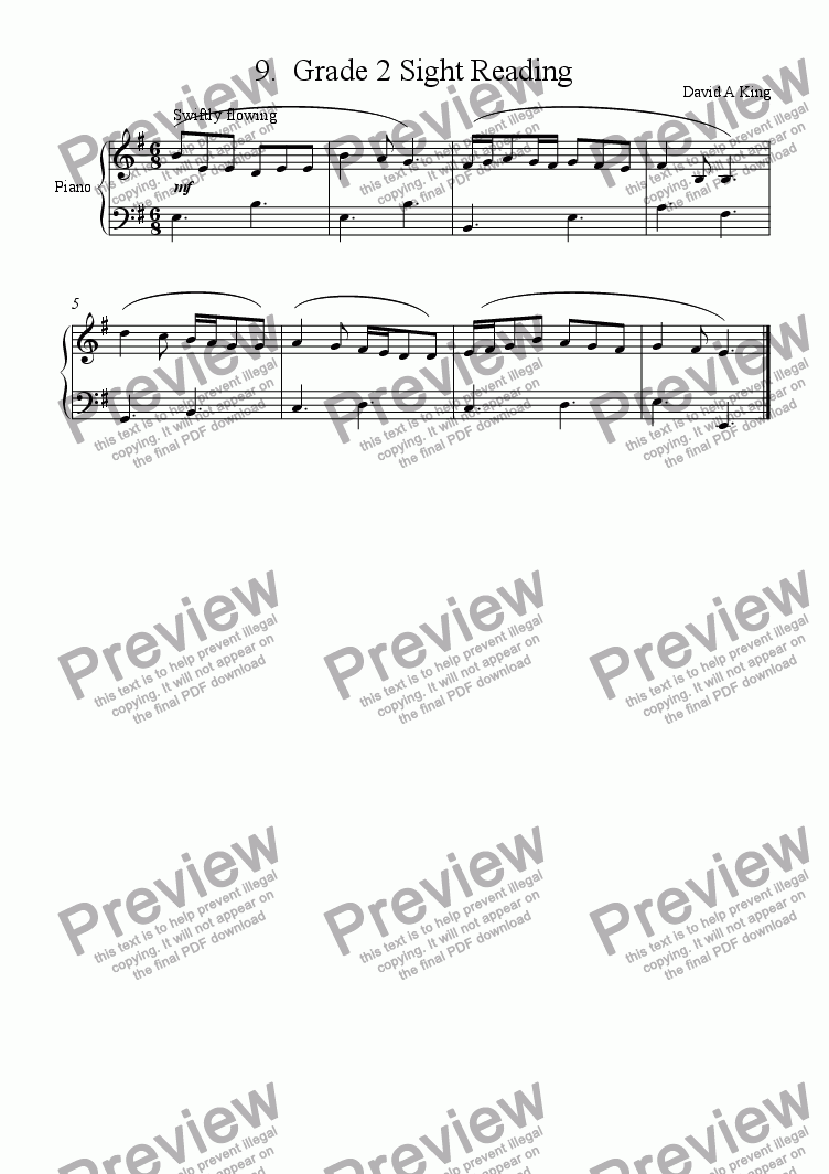 Grade 2 Sight Reading for Solo instrument (Piano) by David King - Sheet  Music PDF file to download