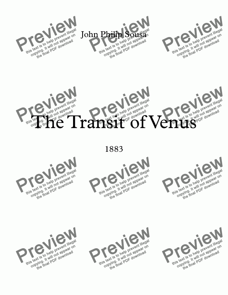 page one of The Transit Of Venus March-Brass Band