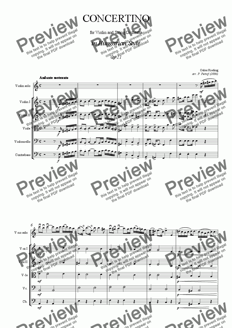 page one of O. Rieding - Concertino for Violin and String Orchestra in Hungarian Style Op.21 - full score