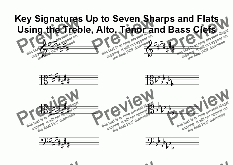 page one of Helpsheet: Order of Key Signatures in Four Clefs