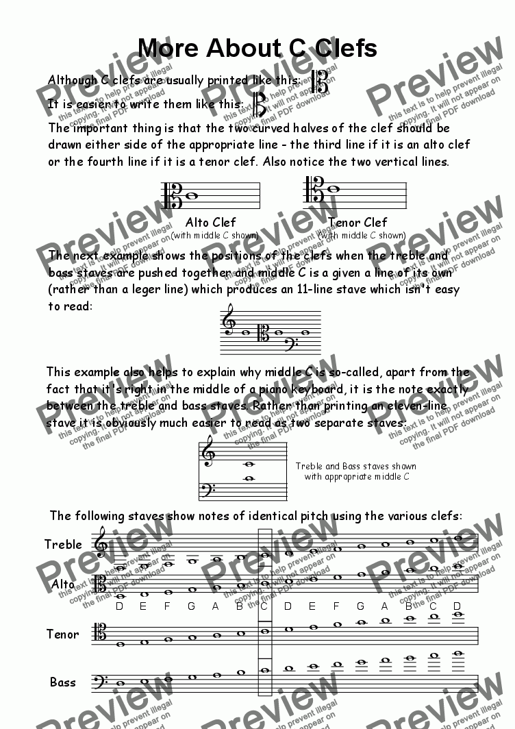 page one of Helpsheet: More About C Clefs