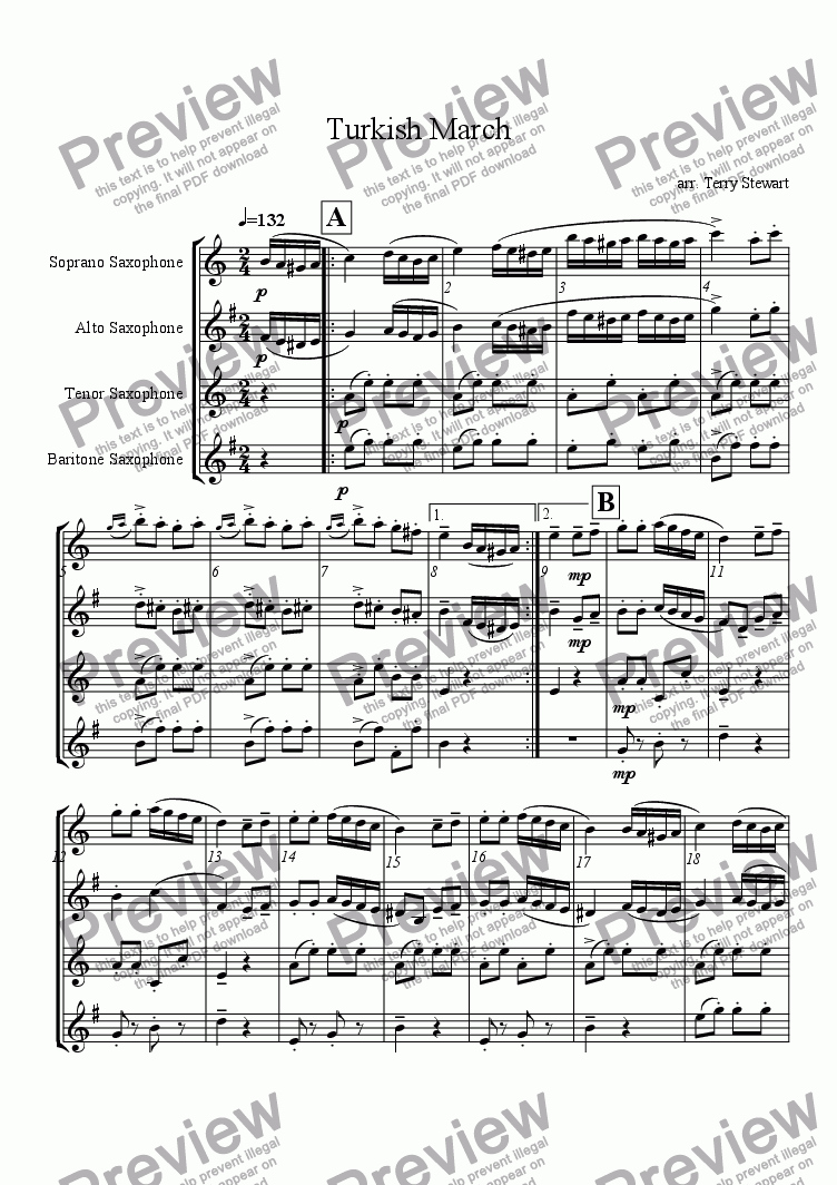 page one of Turkish March (SATB Saxophone Quartet)