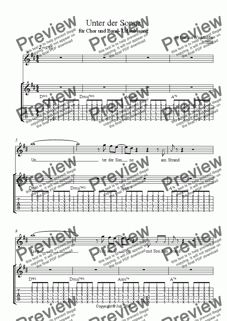 page one of Unter der Sonne - vacation song for mixed youth choir, guitars, postcardreaders