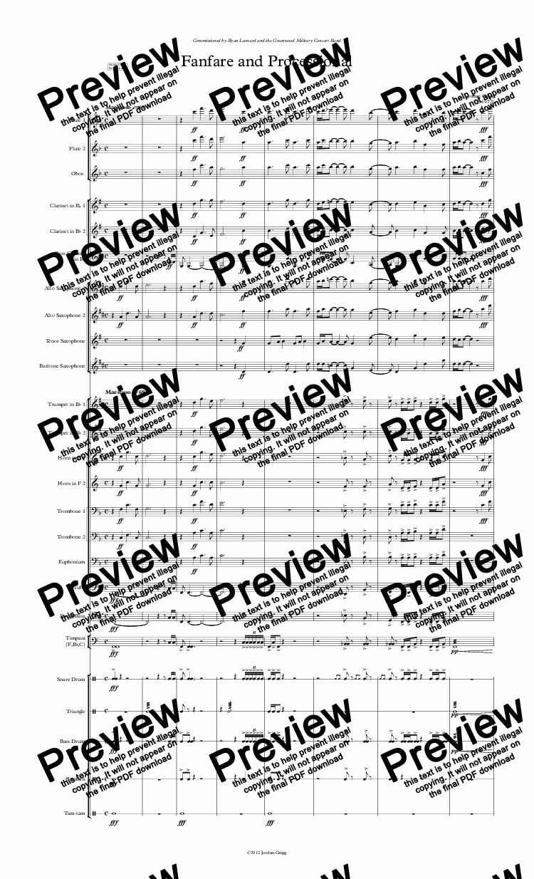 page one of Fanfare and Processional (Concert band)