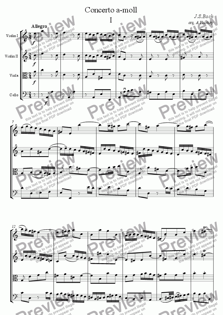 page one of Violin Concerto a-moll I part