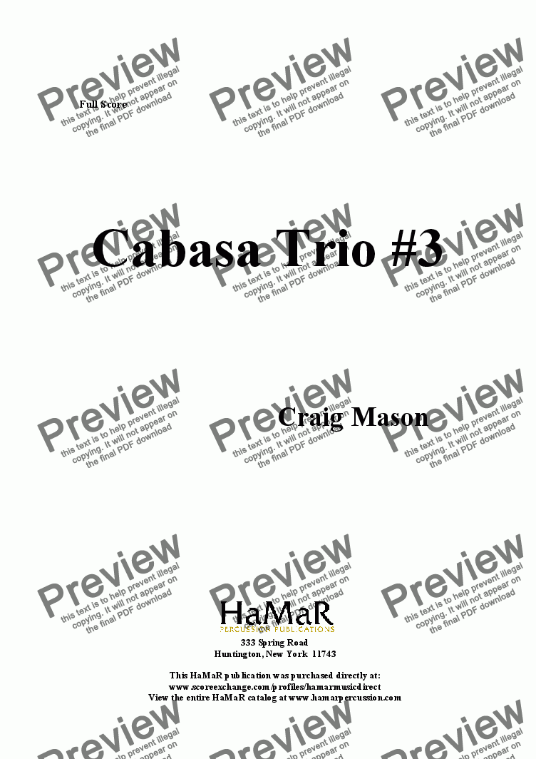 page one of Cabasa Trio #3