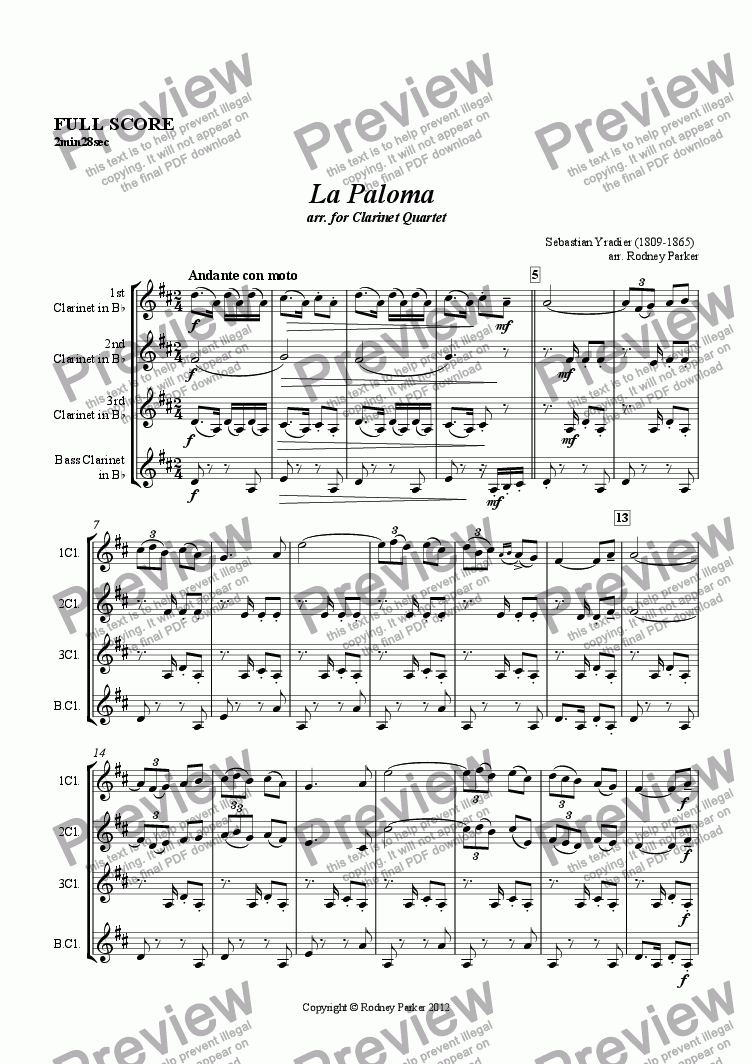 page one of La Paloma  arr. for Clarinet Quartet