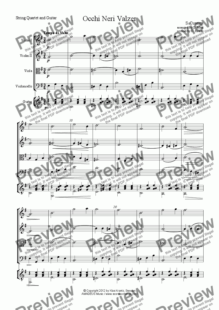 page one of Occhi Neri Valzer for string quartet and guitar (optional)