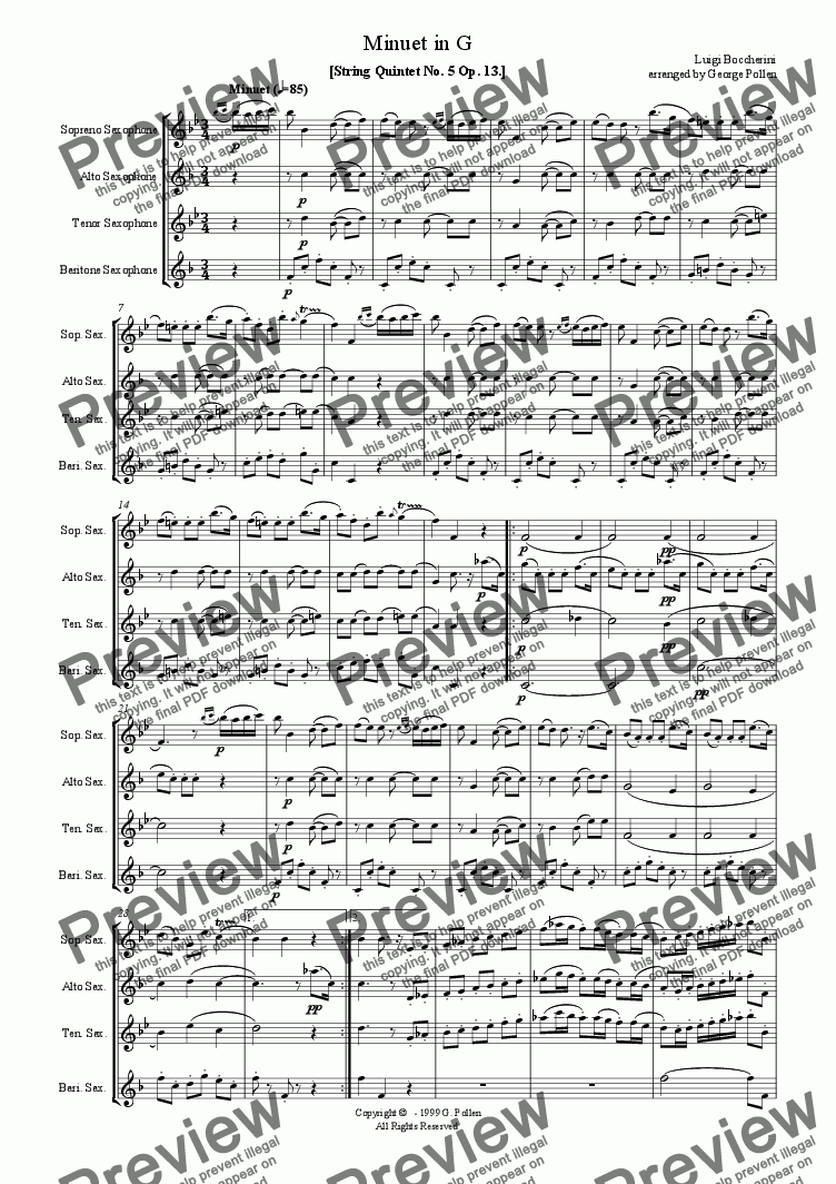 page one of Minuet in G (Saxophone Quartet)