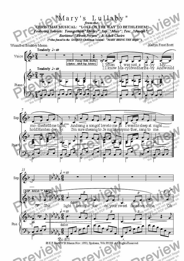 page one of Mary's Lullaby