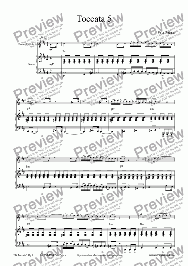 page one of Toccata 5 [solo inst + pno)