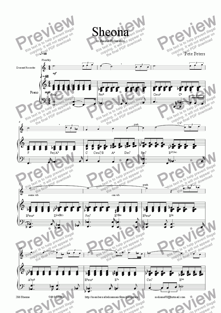page one of Sheona [a special recorder piece]solo inst + pno