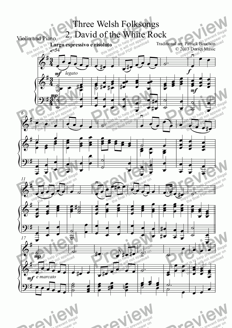 page one of Three Welsh Folksongs for Violin and Piano 2. David of the White Rock