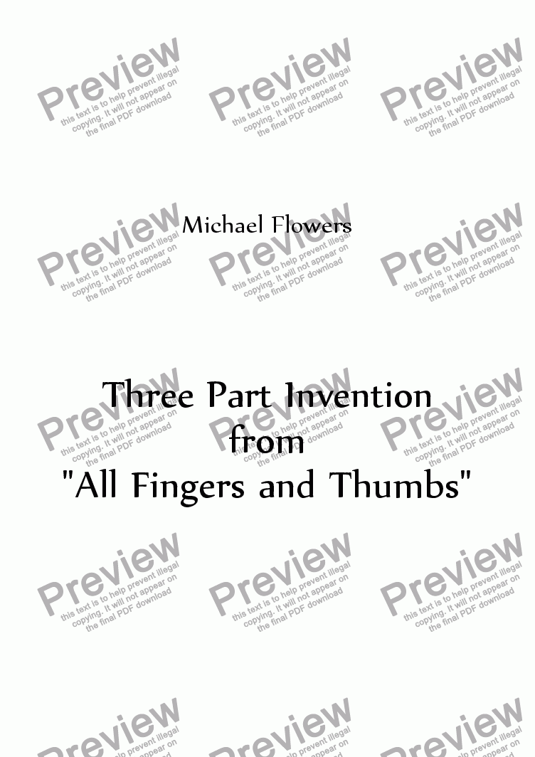 "page one of Three Part Invention from ""All Fingers & Thumbs"""