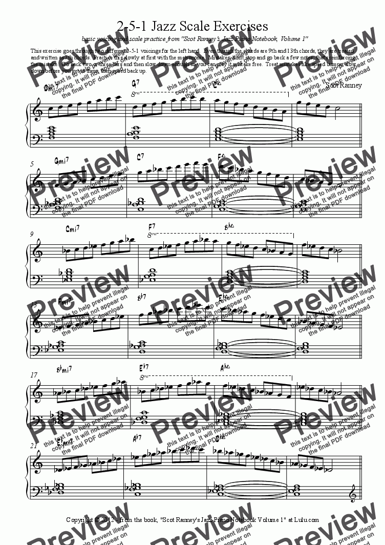 2-5-1 Jazz Scale Exercises for Solo instrument (Piano) by Scot Ranney -  Sheet Music PDF file to download